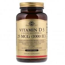 Вітамін Д3, Vitamin D3, Solgar, 25 мкг (1000 МО), 100 капсул