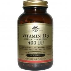 Вітамін D3, Vitamin D3, Solgar, 400 МО, 250 капсул