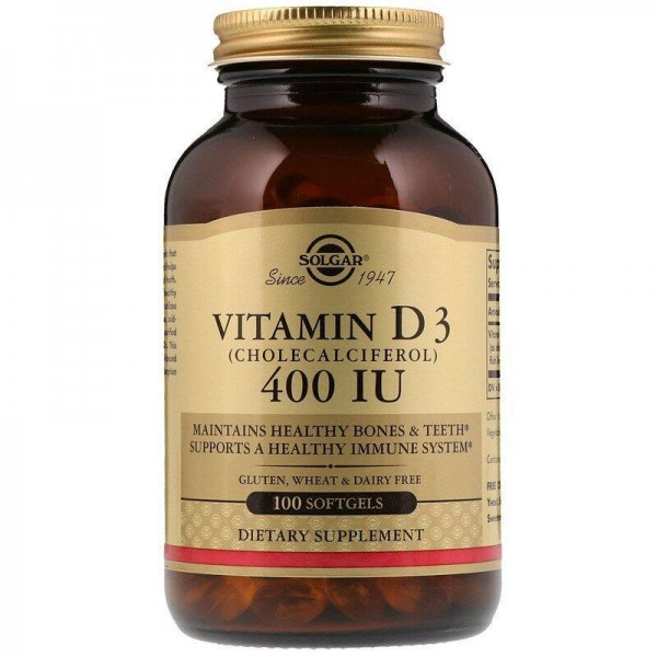 Вітамін Д3, Vitamin D3, Solgar, 400 МО, 100 гелевих капсул