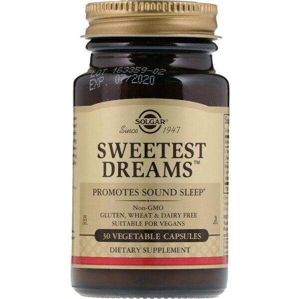 Солодкий сон, Sweetest Dreams, Solgar, 30 капсул