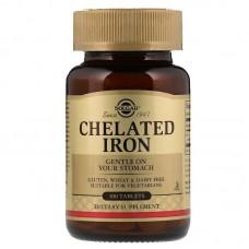 Хелат заліза, Chelated Iron, Solgar, 100 таблеток