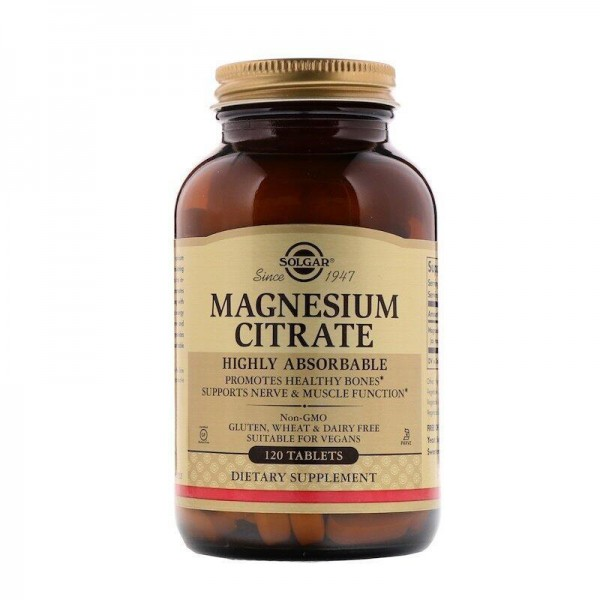 Цитрат магнію, Magnesium Citrate, Solgar, 120 таблеток