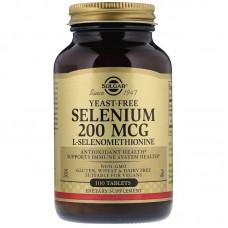 Селен, Selenium, Solgar, без дріжджів, 200 мкг, 100 таблеток