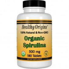 Спіруліна, Spirulina, Healthy Origins, органік, 500 мг, 180 таблеток