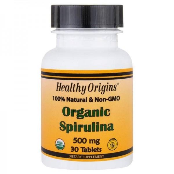 Спіруліна, Spirulina, Healthy Origins, органік, 500 мг, 30 таблеток