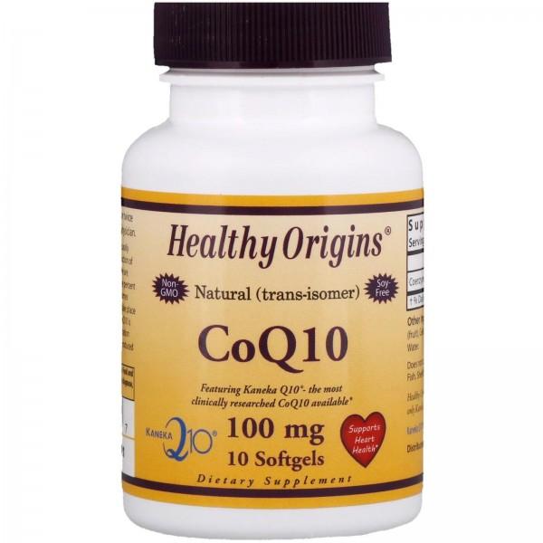 Коензим CoQ10, CoQ10 Gels (Kaneka Q10), Healthy Origins, 100 мг, 10 капсул