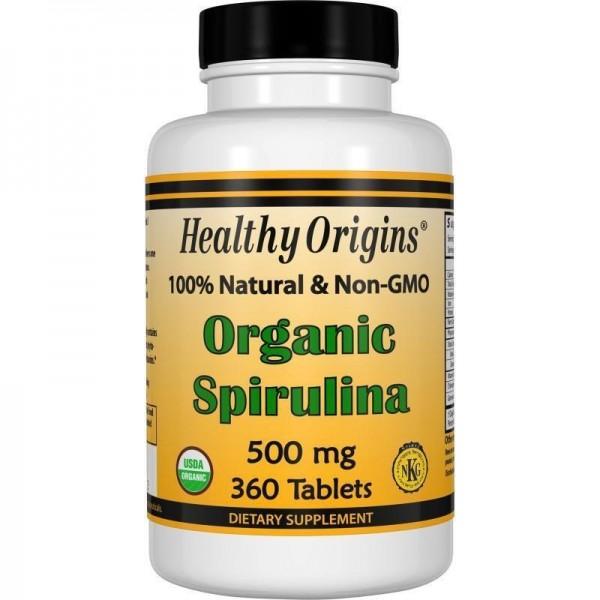 Спіруліна, Healthy Origins, органік, 500 мг, 360 таблеток