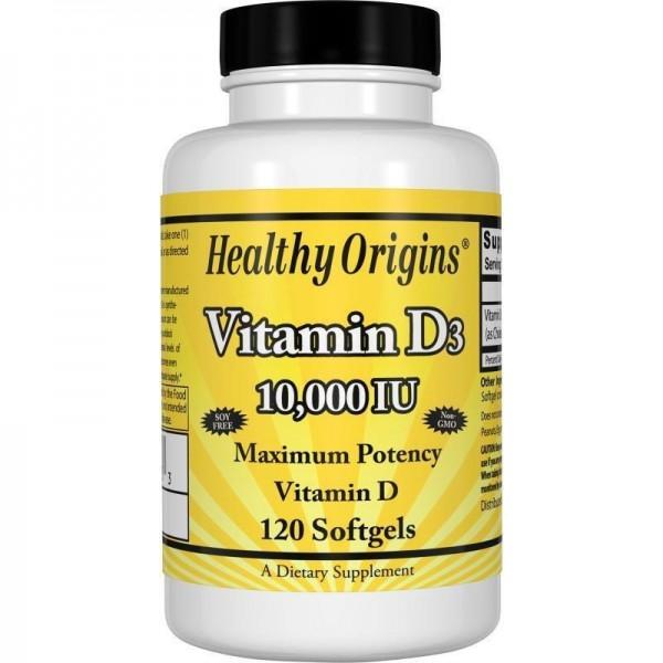 Вітамін Д3, Vitamin D3, Healthy Origins, 10 000 МО, 120 капсул
