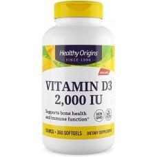 Вітамін Д3, Vitamin D3, Healthy Origins, 2000 МО, 360 капсул