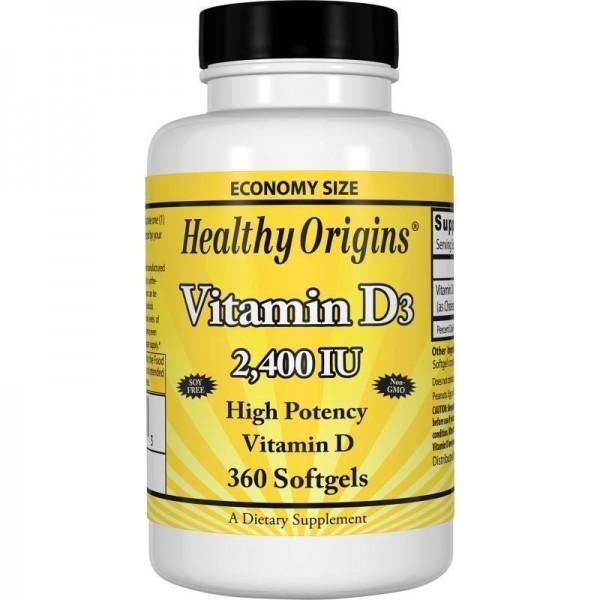Вітамін Д3, Healthy Origins, 2400 МО, 360 капсул