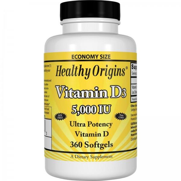 Вітамін Д3, Vitamin D3, Healthy Origins, 5000 МО, 360 капсул