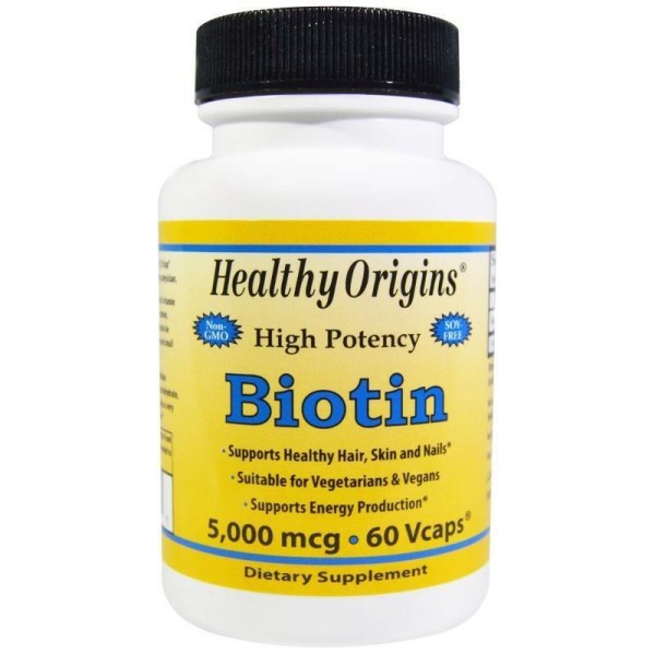Біотин, Biotin, Healthy Origins, 5000 мкг, 60 капсул