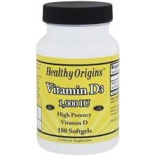 Vitamin D3 1000 IU 180 Softgels Healthy Origins