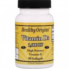 Вітамін Д Vitamin D3 1000 IU 90 Softgels Healthy Origins