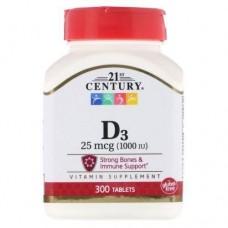 Вітамін Д Vitamin D3 тисячі IU 300 Tablets 21st Century
