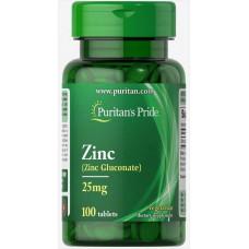 Цинк глюконат Zinc Gluconate 25mg 100 Tablets Puritan's Pride