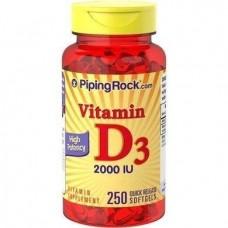 Вітамін Д High Potency Vitamin D3 2000 IU 250 Softgels Piping Rock