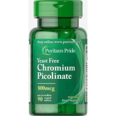 Пиколинат хрому Chromium Picolinate 800 mcg Yeast Free 90 Tablets Puritan's Pride