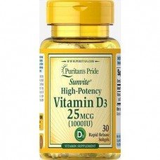 Вітаміни VITAMIN D3 тисячі IU Trial Size 30 Softgels Puritan's Pride