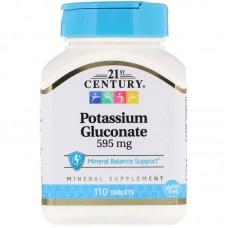 Potassium Gluconate, 595 mg, 110 Tablets 21st Century